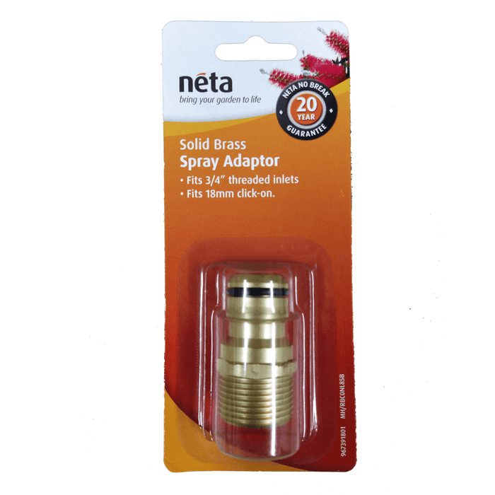 Solid Brass Spray Adaptor 18mm X 3/4""