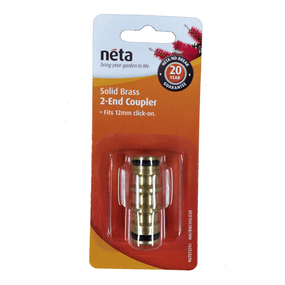 Solid Brass 2-End Coupler 12mm