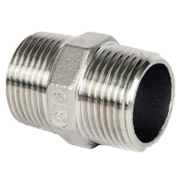 316 Stainless Steel Nipple - 6 - Stainless Steel Threaded