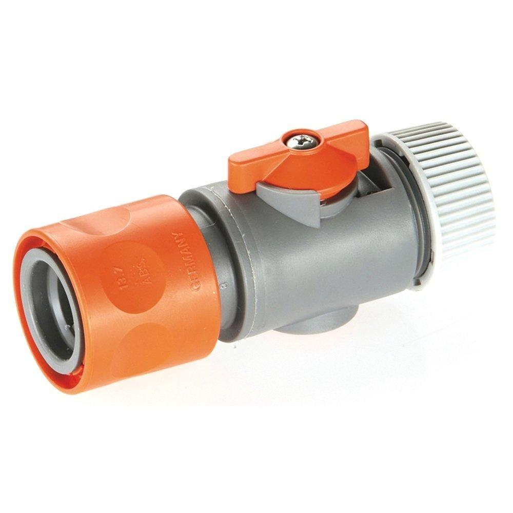 Gardena 13mm Hose Connector With Valve - Garden Hose Fittings - Plastic