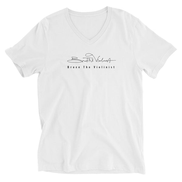 Short Sleeve Bruce The Violinist V-Neck T-Shirt - White