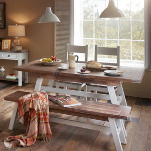Provence Farmhouse Dining Table with 2 Chairs and 1 Bench