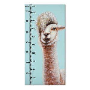 Hand Painted Childrens Height Chart Canvas- Alpaca