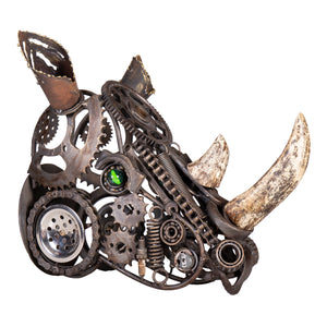 Wrought Iron Rhinoceros Head