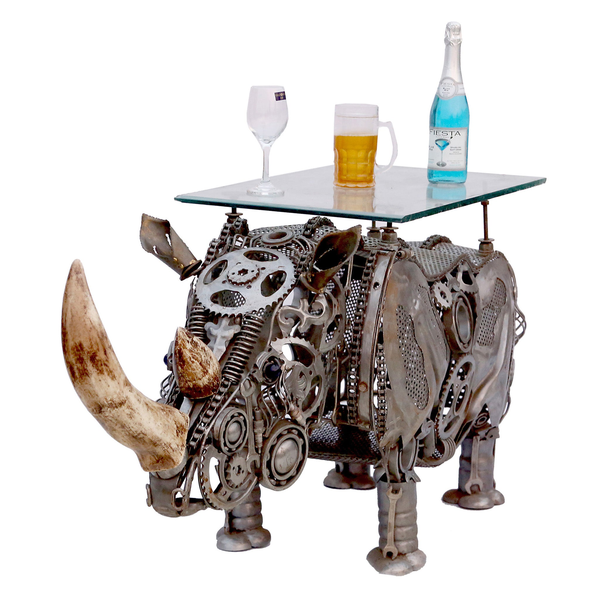 Wrought Iron Rhinoceros Table