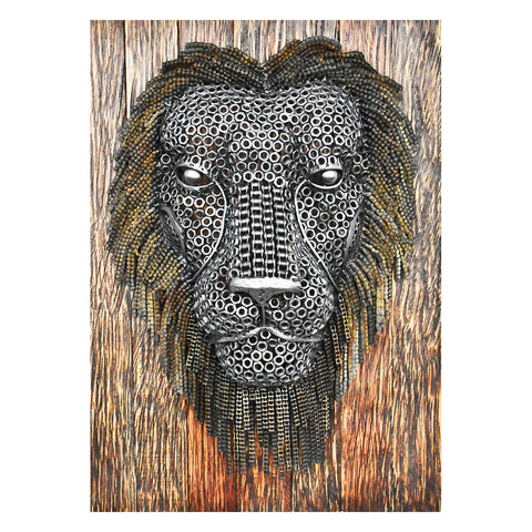 Lion Face Sculpture on a Wood Backboard