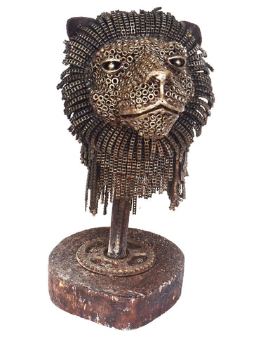 Lion Head With Natural Wood Stand