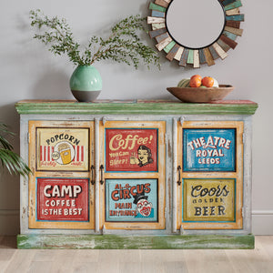 Hand Painted Vintage Ad 3 Door Sideboard