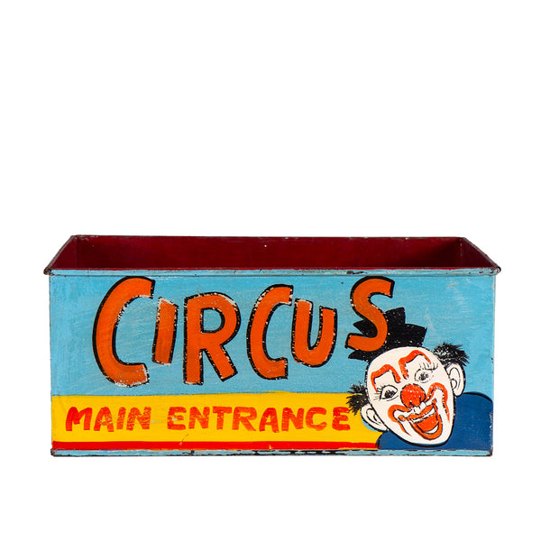 Hand Painted Circus Themed Iron Storage Box