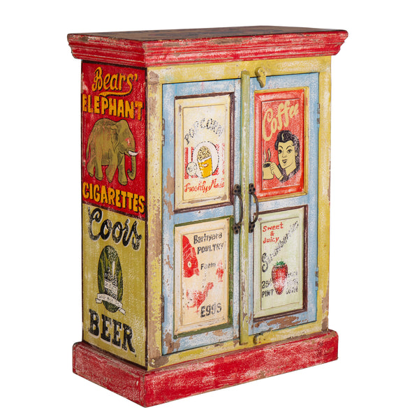 Hand Painted Vintage Ad 2 Door Cabinet