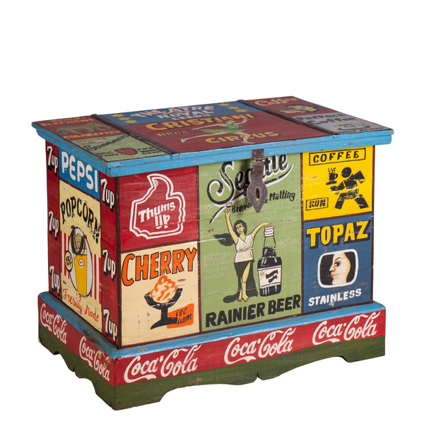 Hand Painted Vintage Ad Storage Chest