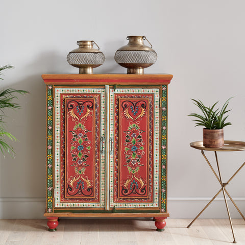 Hand Painted Vintage Folk Pattern 2 Door Cabinet