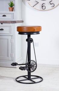 Leather Cycle Bar Stool