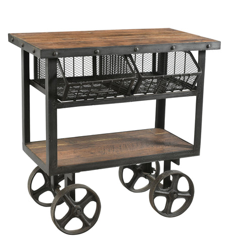 Iron and Reclaimed Timber Trolley with 2 Metal Basket Drawers