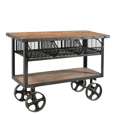 Iron and Reclaimed Timber Trolley with 3 Metal Basket Drawers