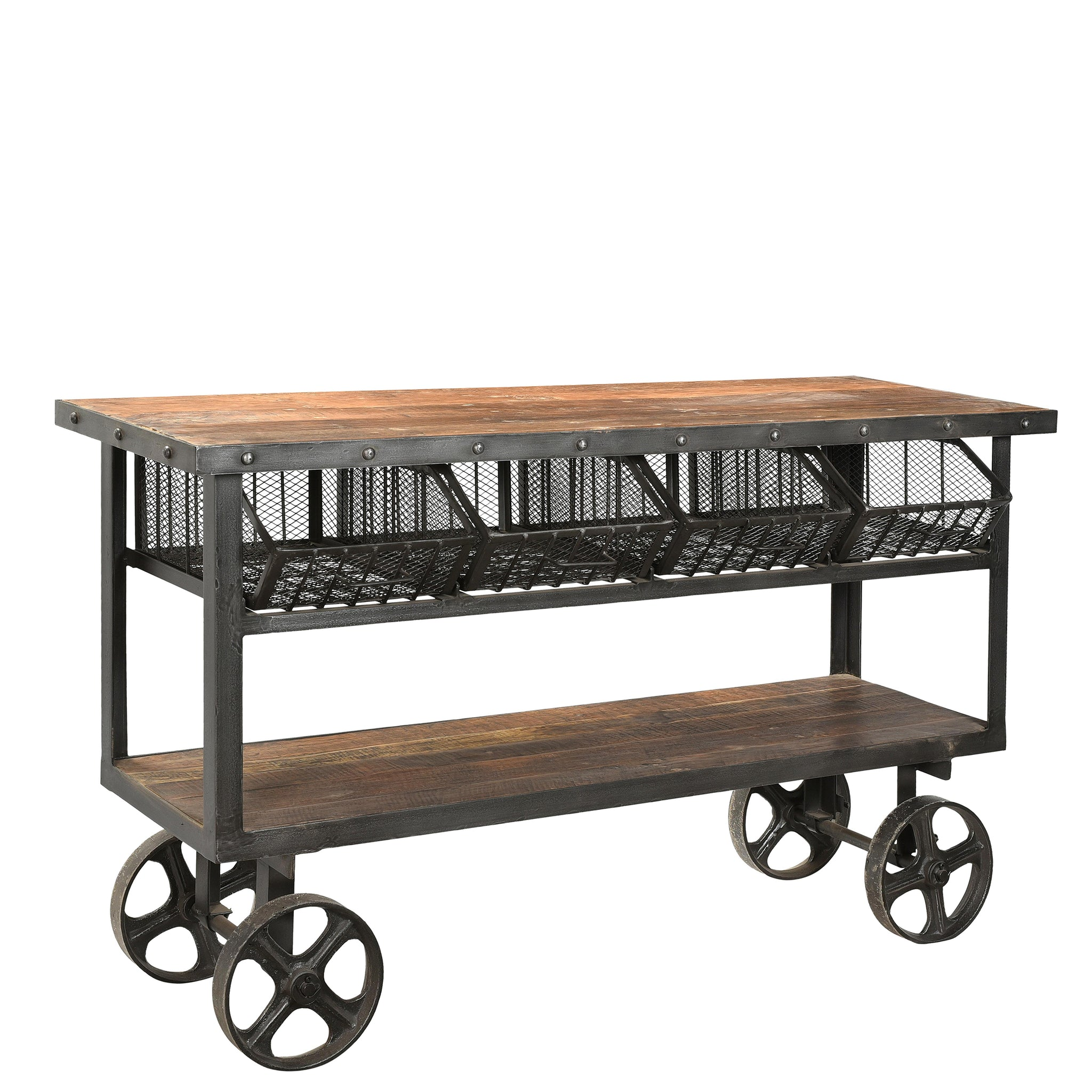 Iron and Reclaimed Timber Trolley with 4 Metal Basket Drawers