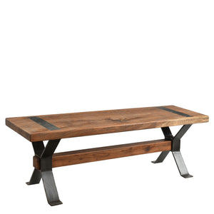 Heavy Duty Industrial Reclaimed Timber Bench with Cross Detail Iron Legs