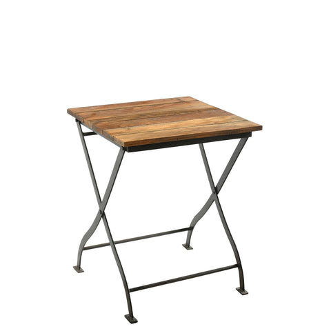 Iron Folding Bistro Table with Reclaimed Wooden Slats