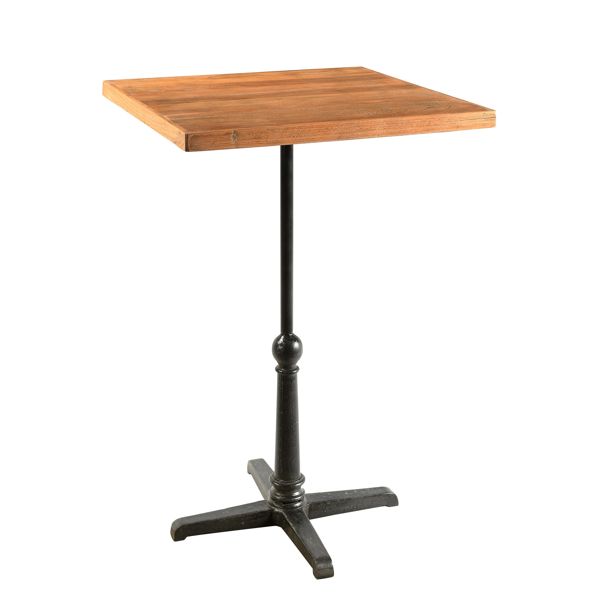 Square Iron and Reclaimed Timber Pedestal Bar Table