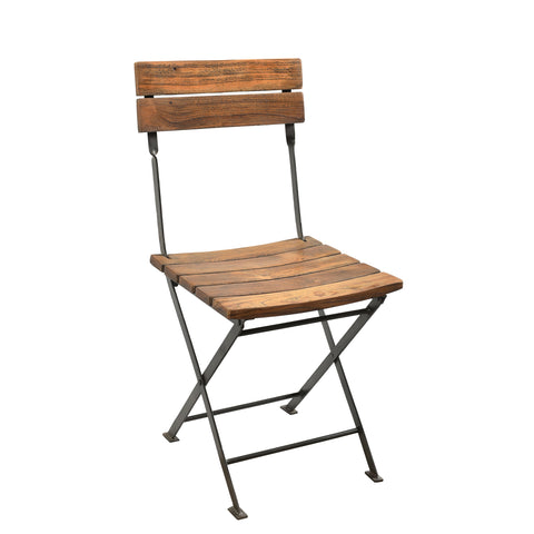 Film Director Style Iron Folding Chair with Reclaimed Wooden Slats