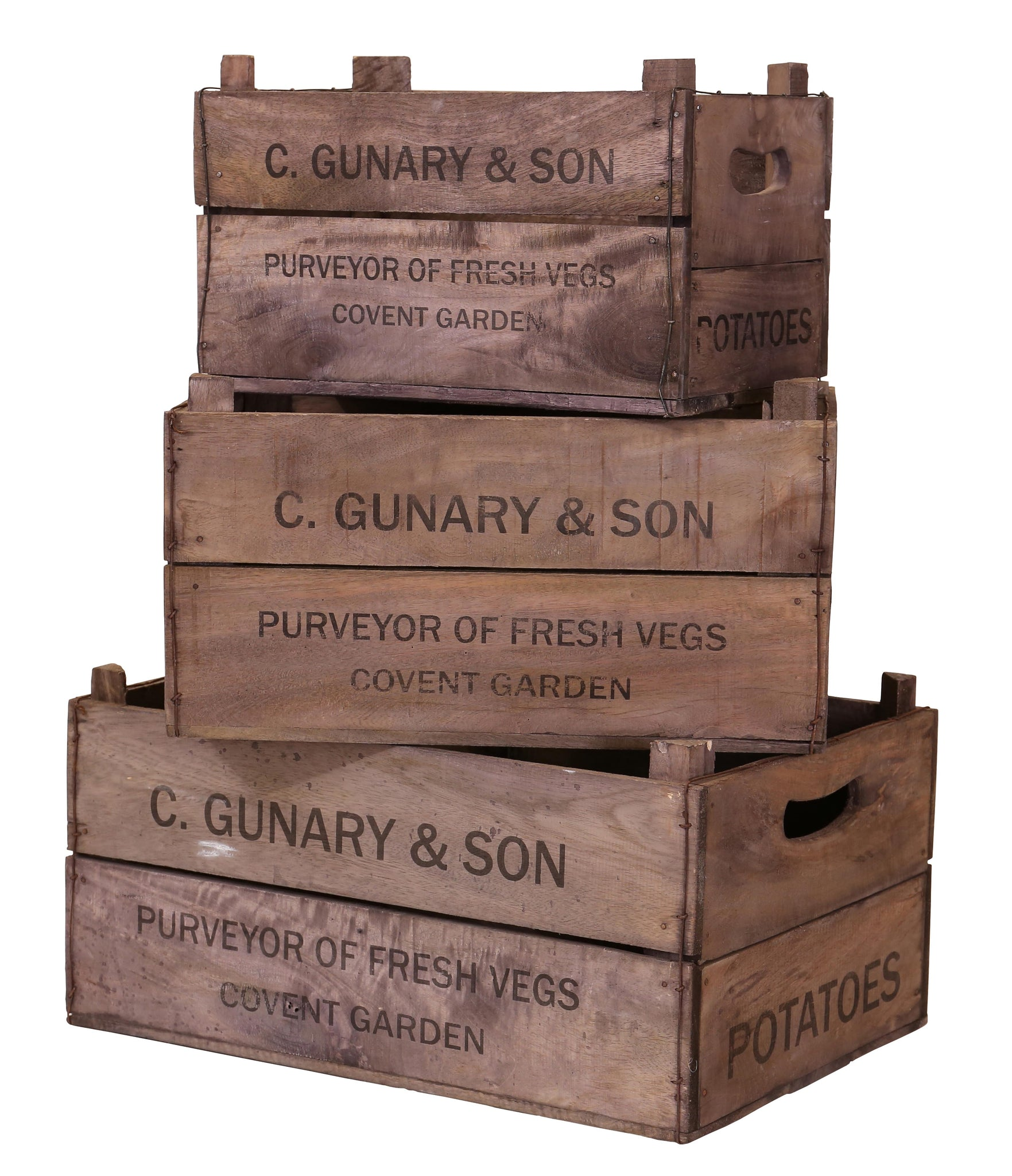 Set of 3 Apple Boxes - C.Gunary & Son