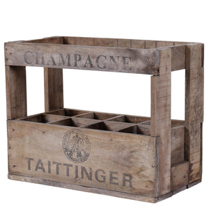 8 Bottle Vintage Wine Crate - Taittinger