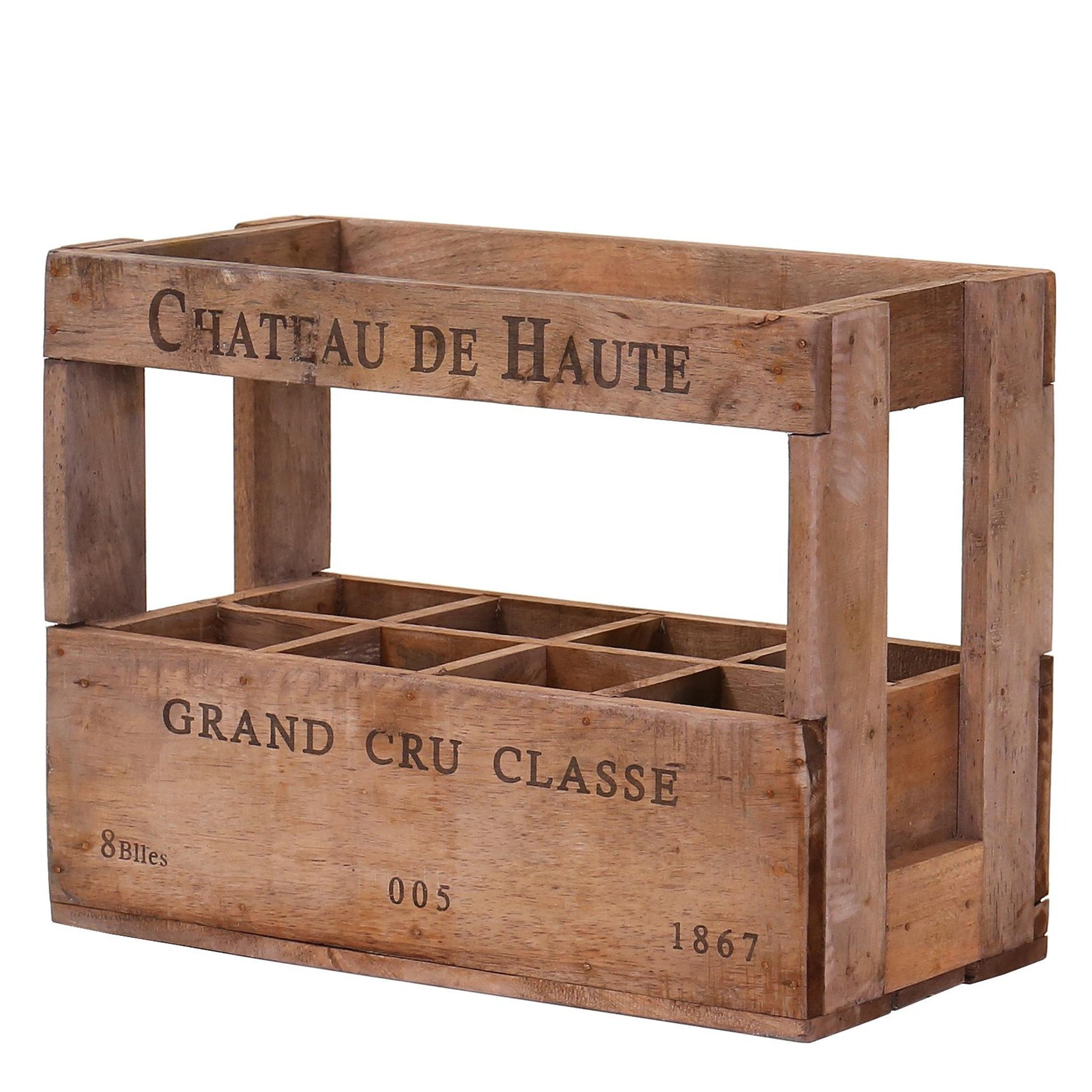 8 Bottle Vintage Wine Crate - Chateau De Haute