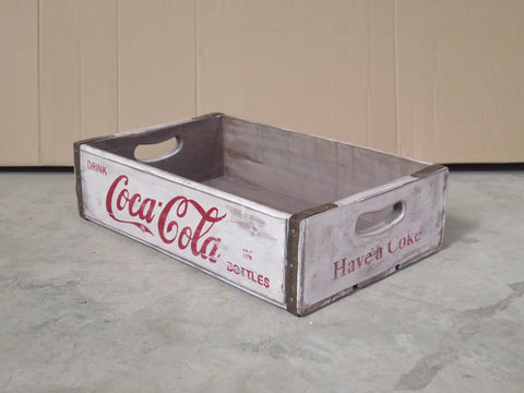 Rustic Rectangular Tray / Box - White Coca Cola Box