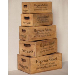 Set of 5 Vintage Nesting Shellfish Boxes - Hogwarts School Print