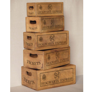 Set of 5 Vintage Nesting Shellfish Boxes - Hogwarts Express Print