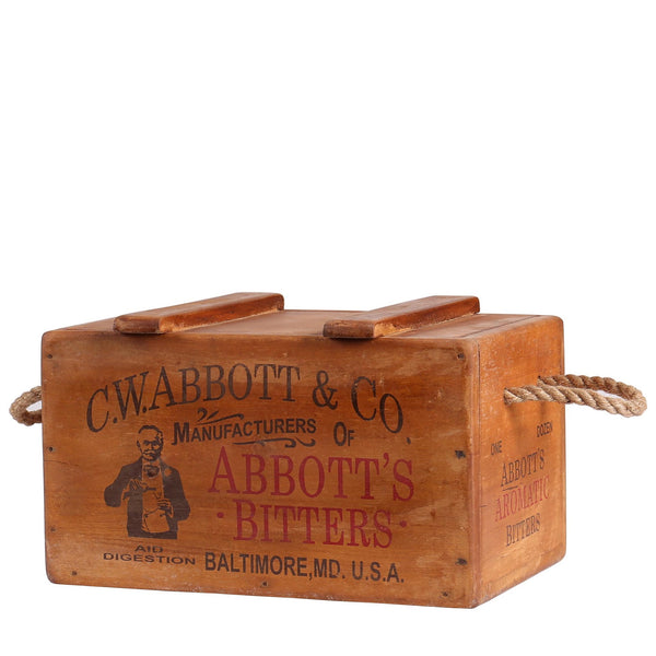 Abbott's Vintage Wooden Lidded Chest Box with Rope Handles