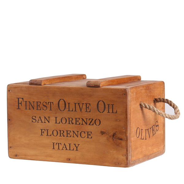 Finest Olive Oil Vintage Wooden Lidded Chest Box with Rope Handles