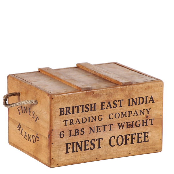 British East India Wooden Lidded Chest Box