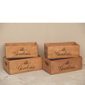 Set of 4 (2+2) Vintage Rectangular Gordan's Gin Boxes