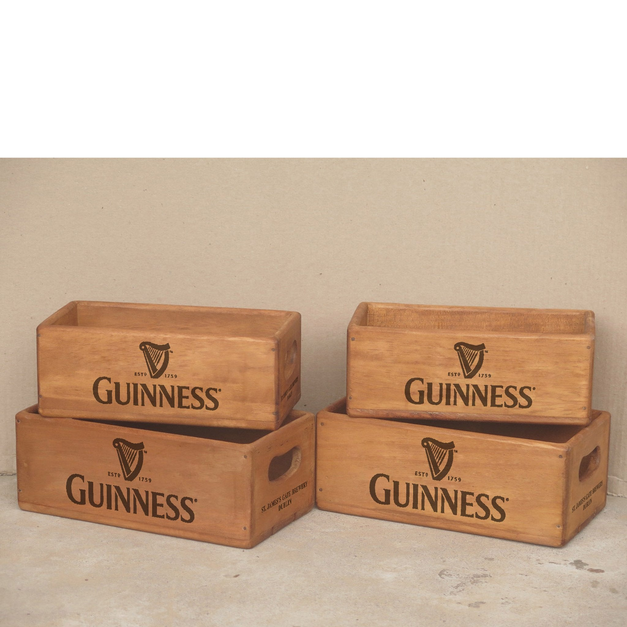 Set of 4 (2+2) Vintage Rectangular Guinness Boxes