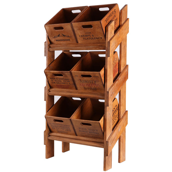 Display Rack with 6 Rectangular Boxes