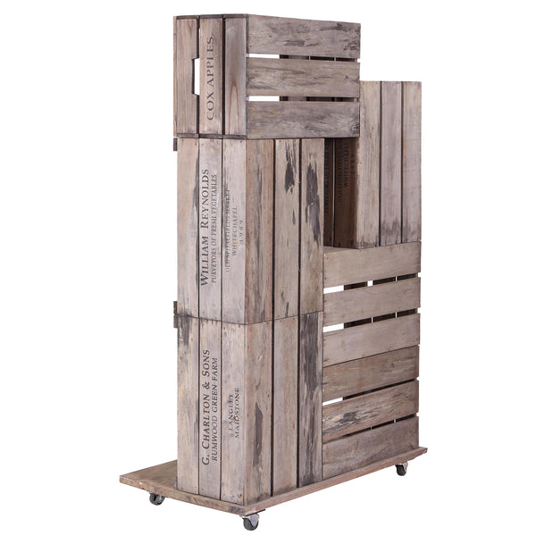 6 Apple Crates Display Unit on Wheels - Side View
