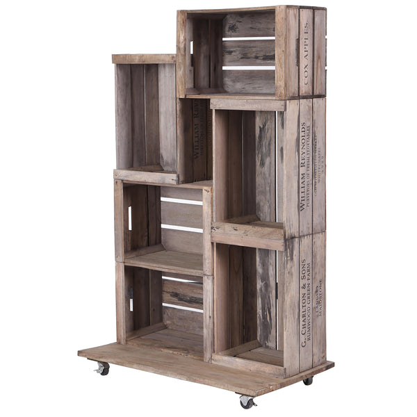 6 Apple Crates Display Unit on Wheels