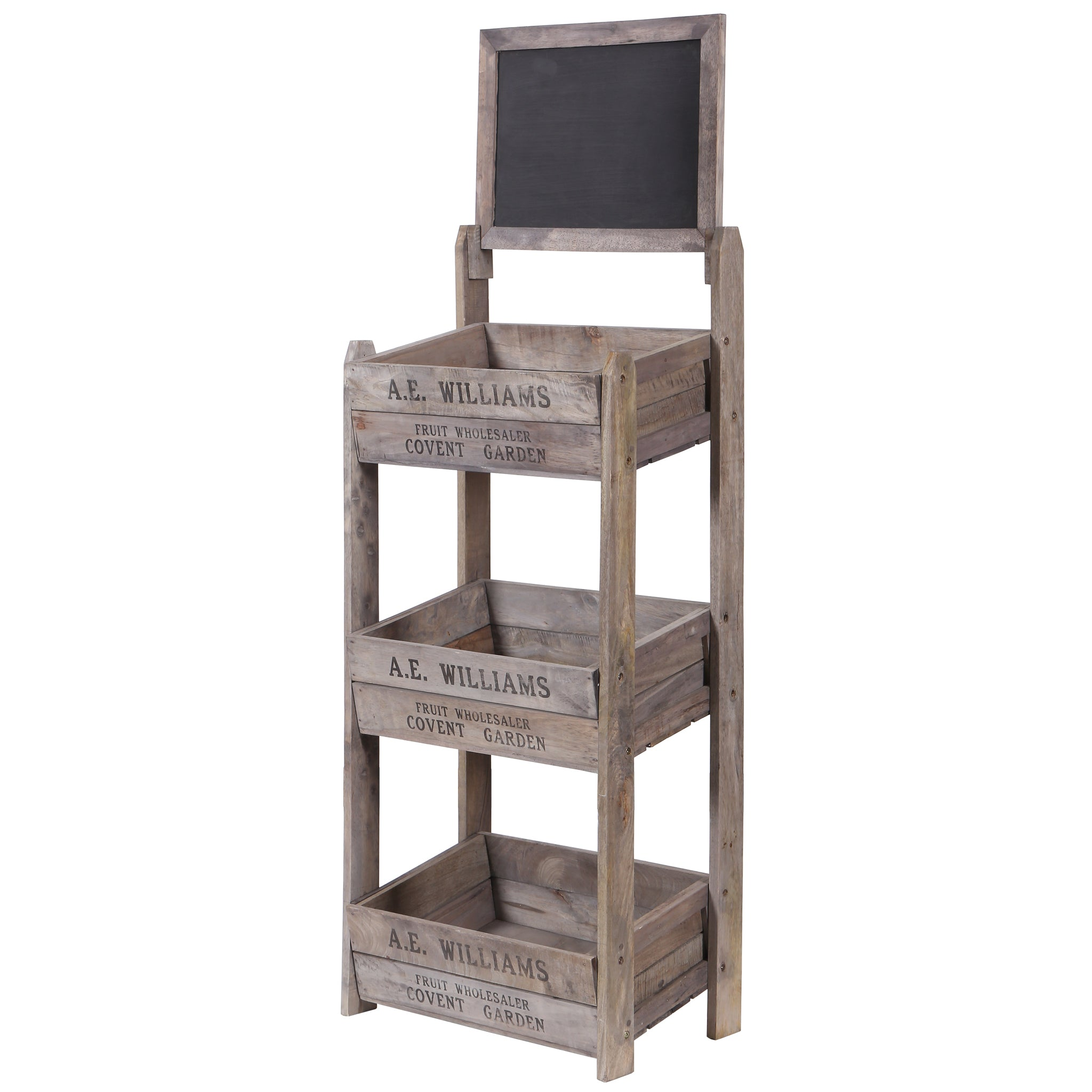 3 Tier Crate Display with Chalk Board - Front View