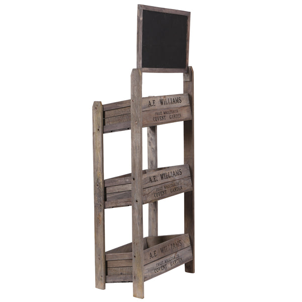 3 Tier Crate Display with Chalk Board - Side View