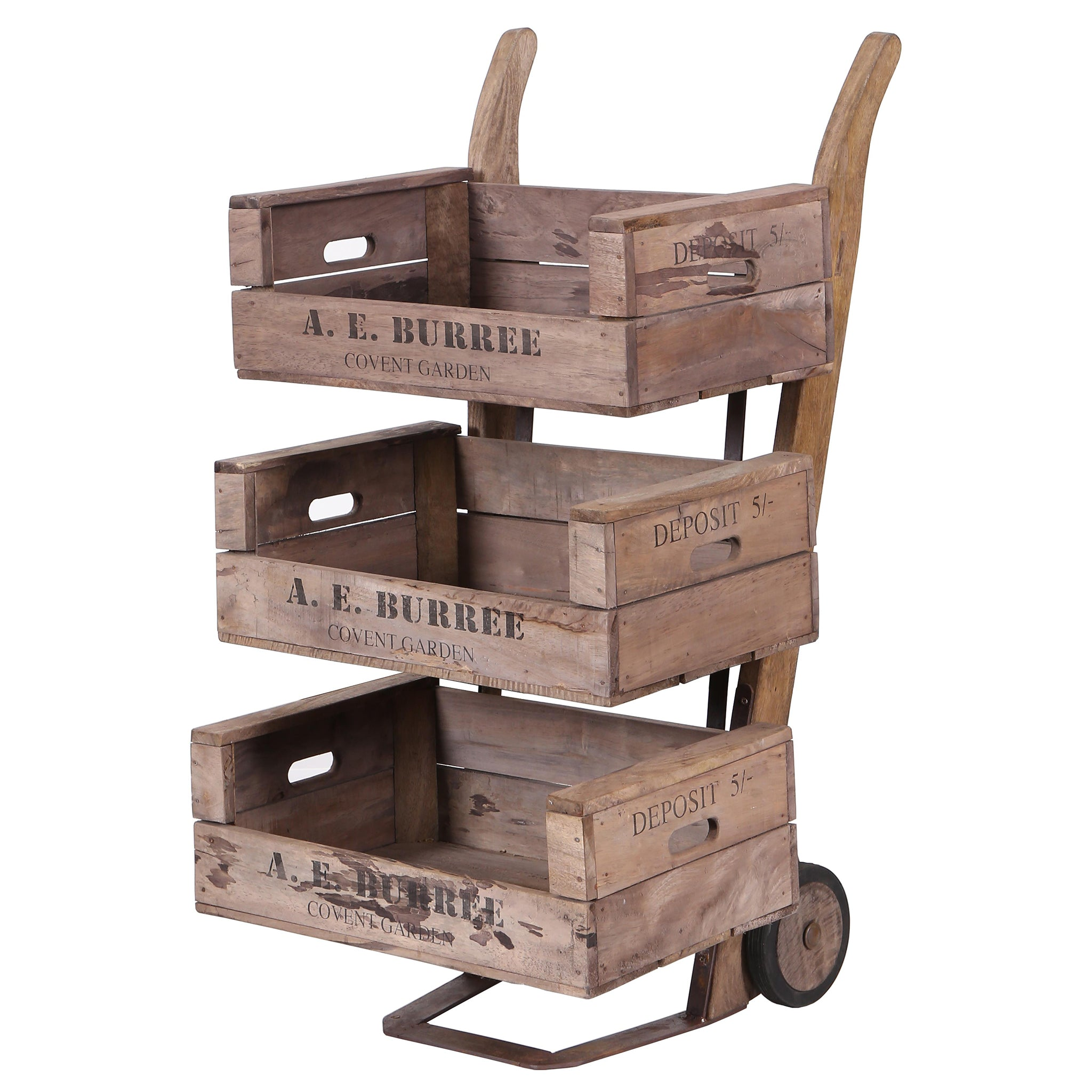 Covent Garden 3 Tier Sack Barrow Display Unit on Wheels