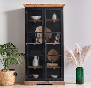 Tall 2 Door Reclaimed Wood Cabinet With Mesh Doors