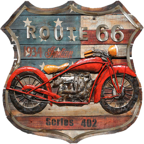 Route 66 Motorbike On Wood