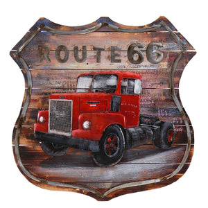3D Metal Vintage Route 66 Painting On Wood