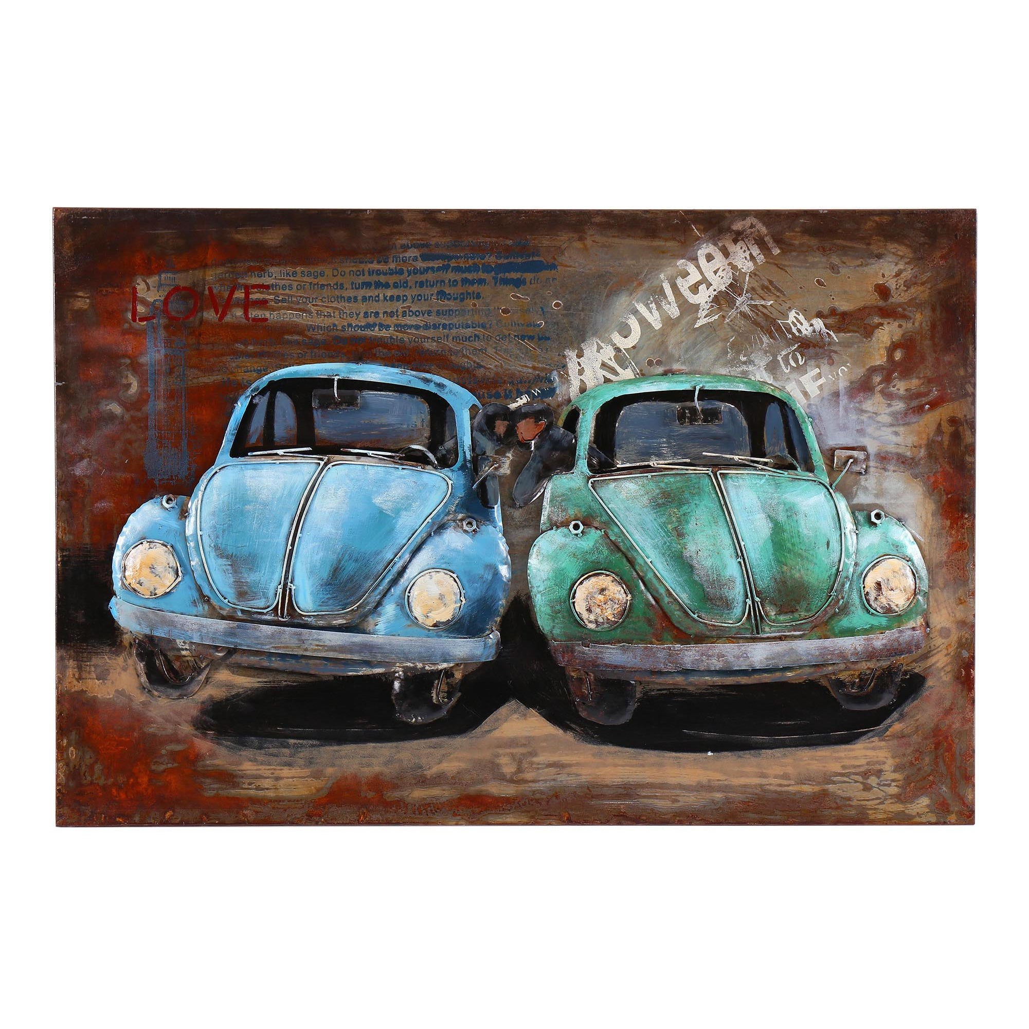 3D Metal I Love Beetles Painting