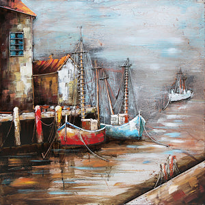 3D Metal Cornish Harbour Painting