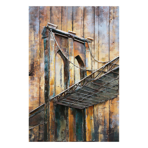 3D Metal on Wood Brooklyn Bridge Painting