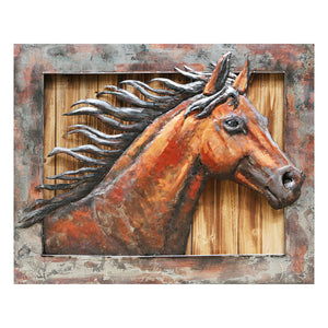 3D Metal on Wood Wild Horse Painting