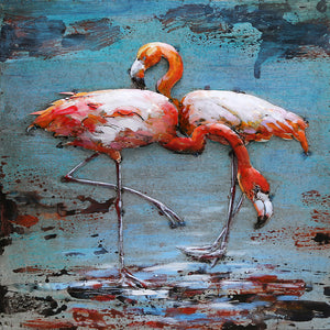 3D Metal Flamingo Painting