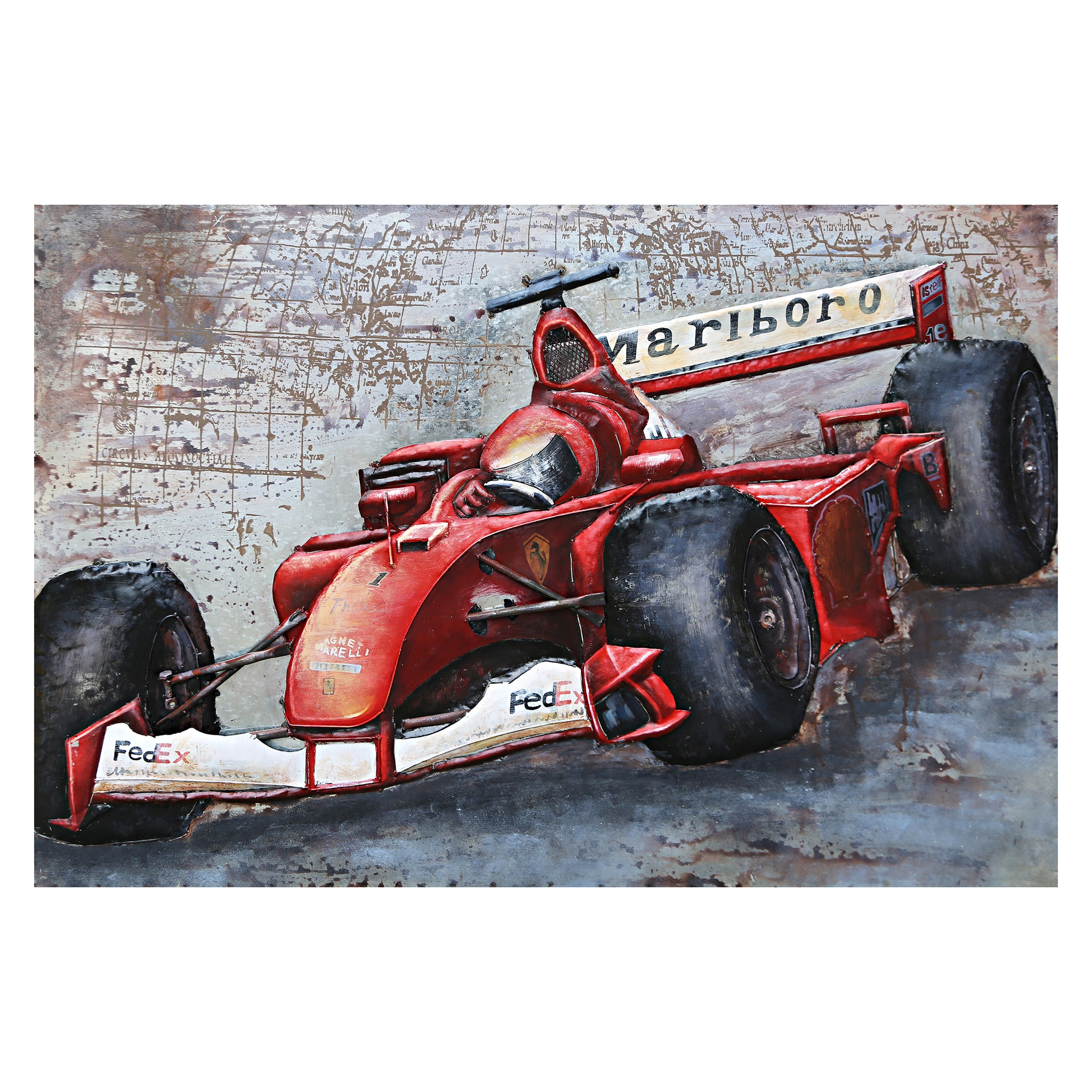 3D Metal Racing Ferrari Painting